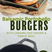 Herbed Portobello Burgers cooking in a pan and on buns on a try
