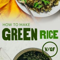 Saucepan and plate of our homemade green rice recipe