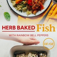 Baking pan of White Fish with fresh herbs and a plate of of it served over cauliflower rice with bell peppers