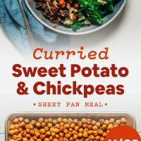 Bowl and pan filled with our Curried Sweet Potato Sheet Pan Dinner recipe