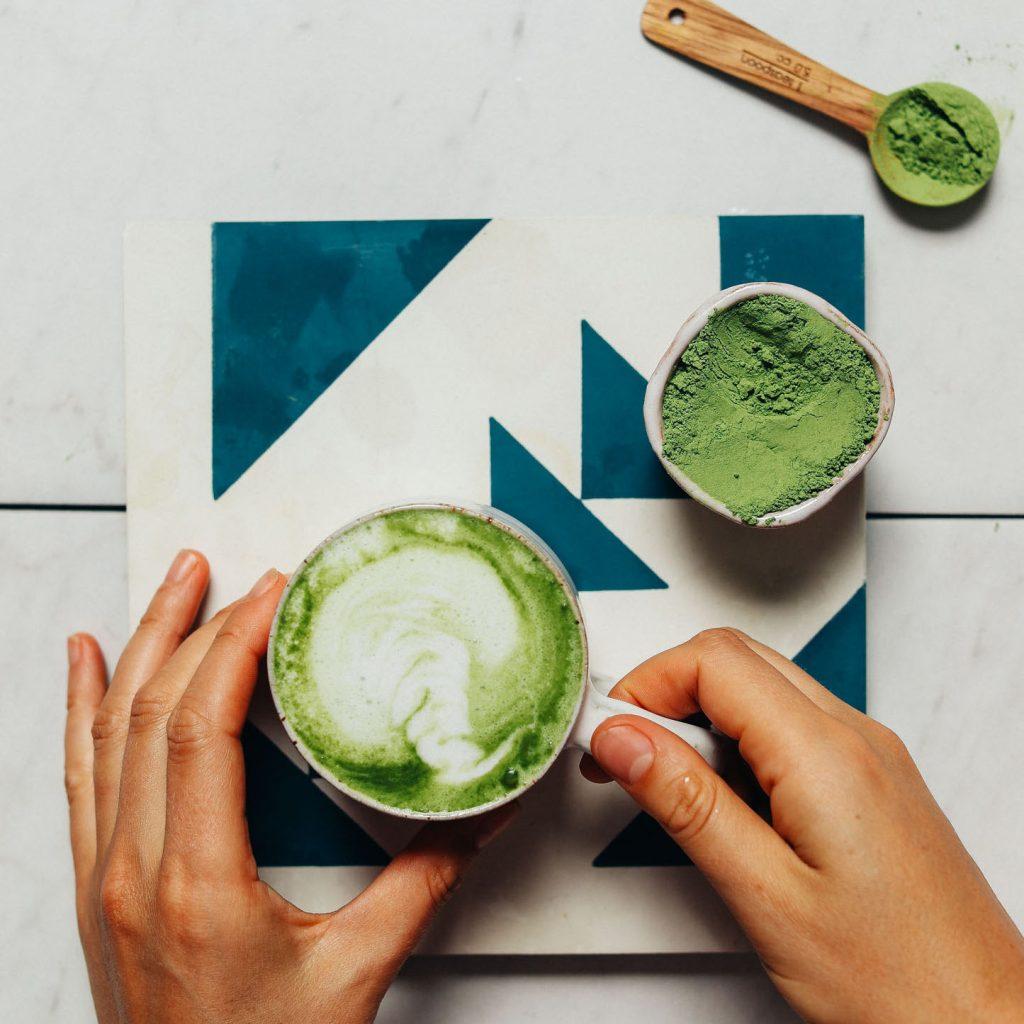 A mug of our creamy caffeine-free Moringa Latte for an antioxidant-rich drink