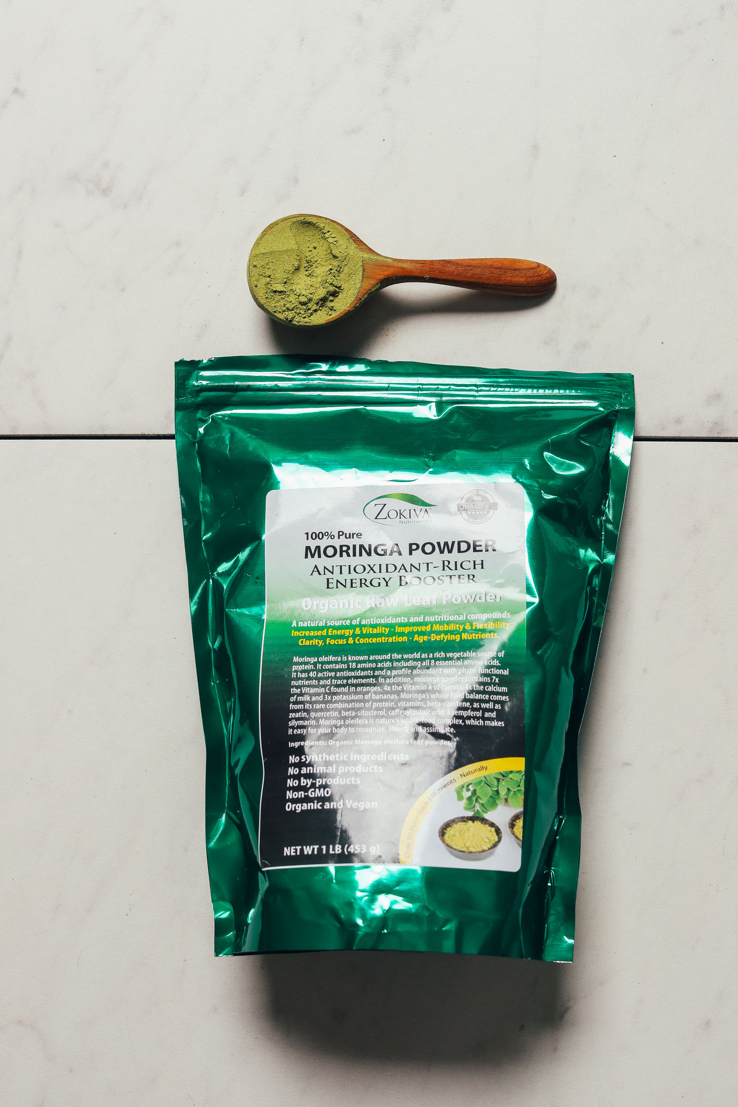 Bag of Zokiva Moringa Powder for our review of the best brands of moringa powder