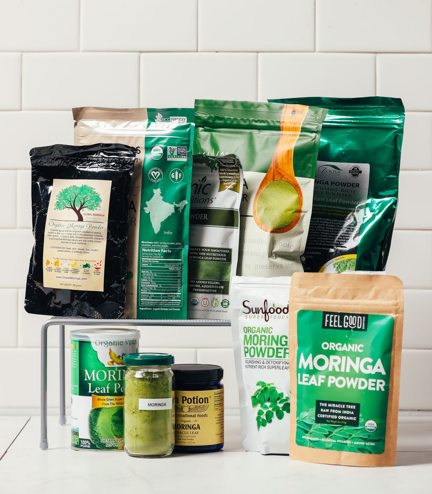 Assortment of moringa powder brands for our review of the best ones