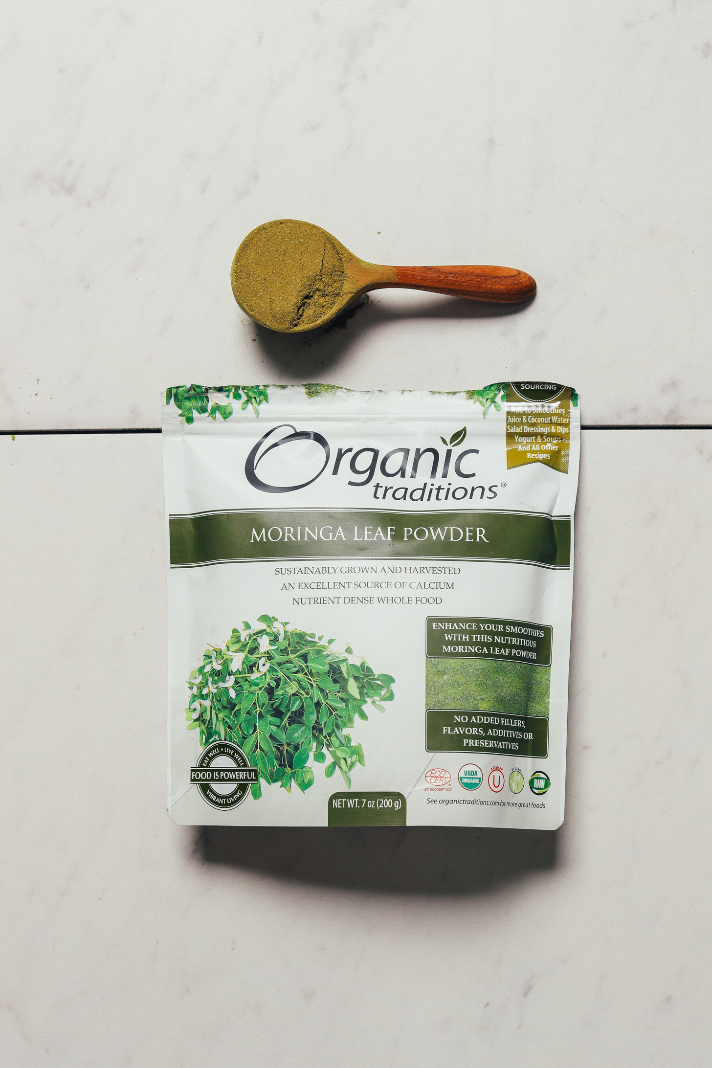 Spoonful of Organic Traditions Moringa Powder for our unbiased review of moringa powder brands