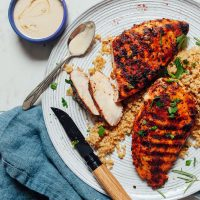 Partially sliced Marinated Grilled Chicken Breast for an easy and flavorful chicken recipe