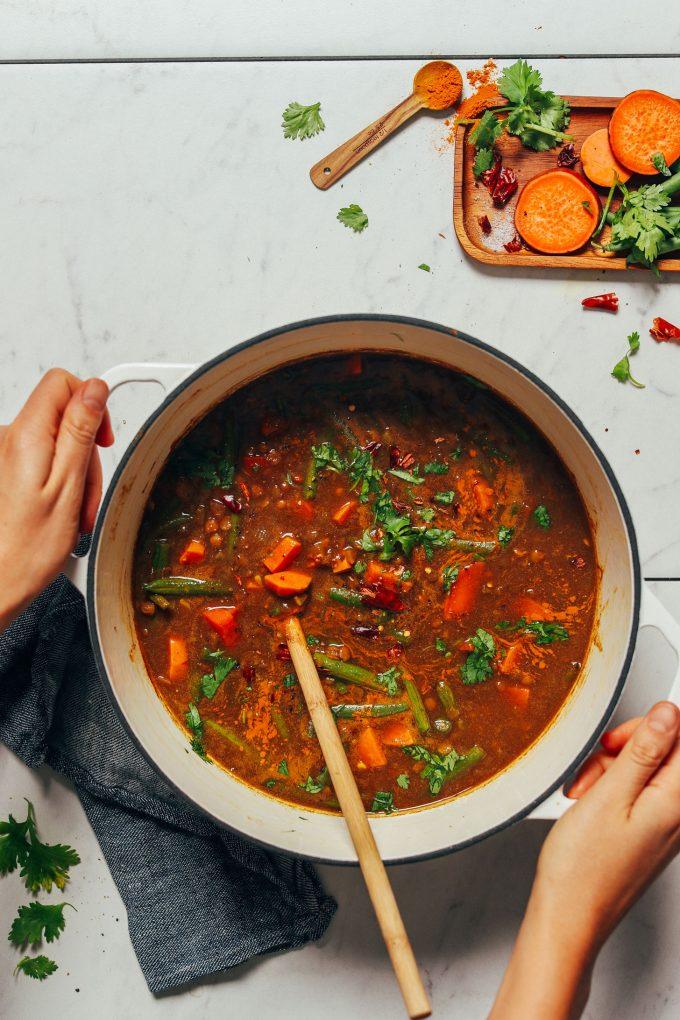 1-Pot Spiced Sweet Potato Lentil Soup