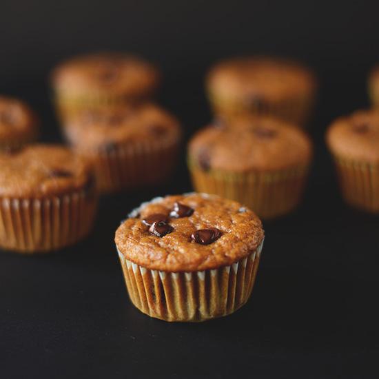 Batch of Vegan Chocolate Chip Pumpkin Muffins