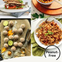 "Back to School Lunch and Snack Ideas round-up poster featuring photos of Vegan ""BLT"" Sandwich, Sun-Dried Tomato Pasta, Crispy Baked Chickpeas and Mango Energy Bites with tagline: Back-to-School Lunch & Snack Ideas"