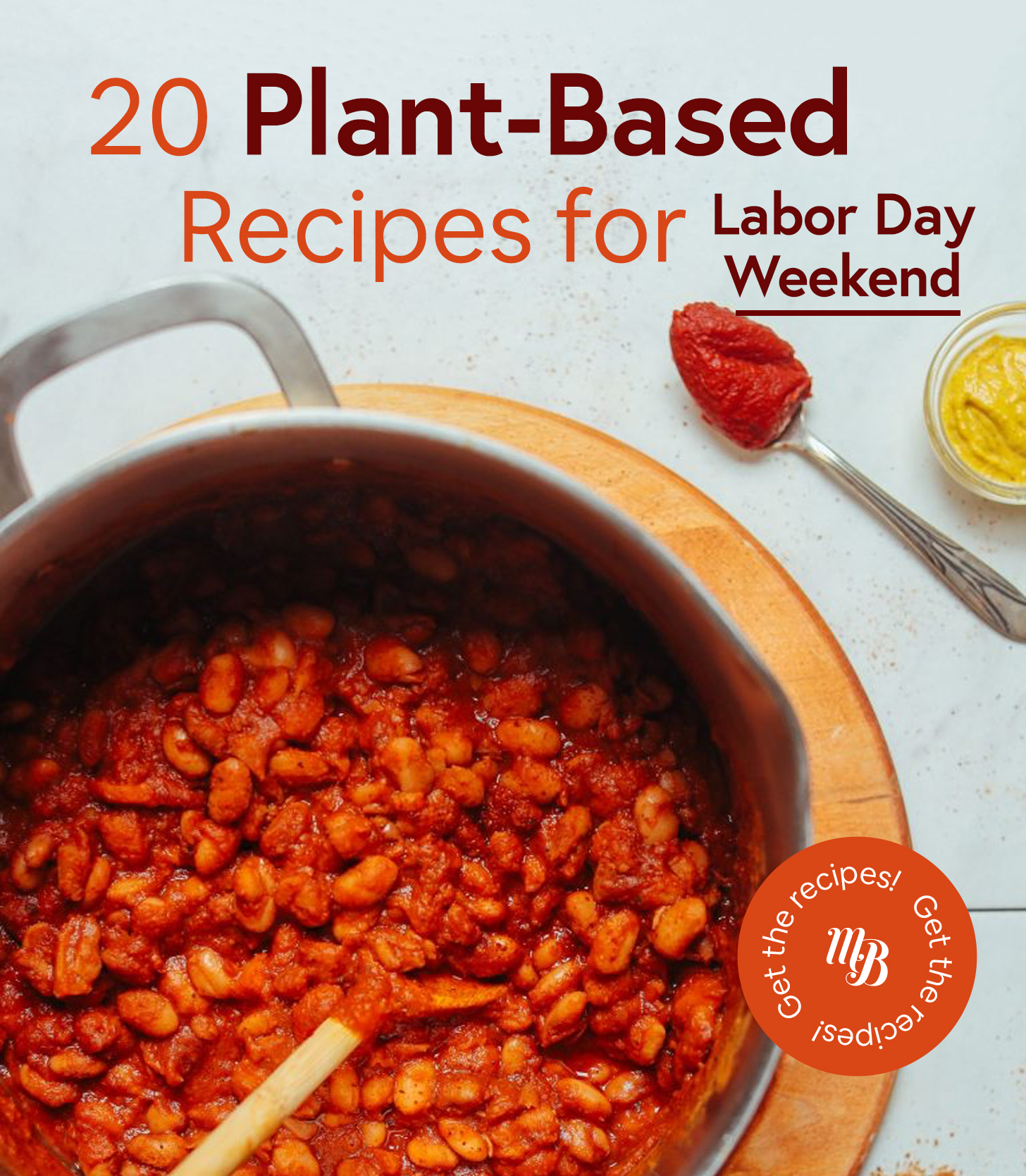 Pot of vegan Baked Beans for our roundup of Plant-Based Recipes for Labor Day
