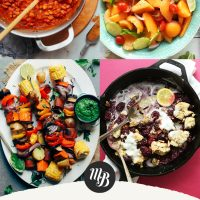 Recipe photos with text overlaid saying 20 Plant-Based Recipes for Labor Day
