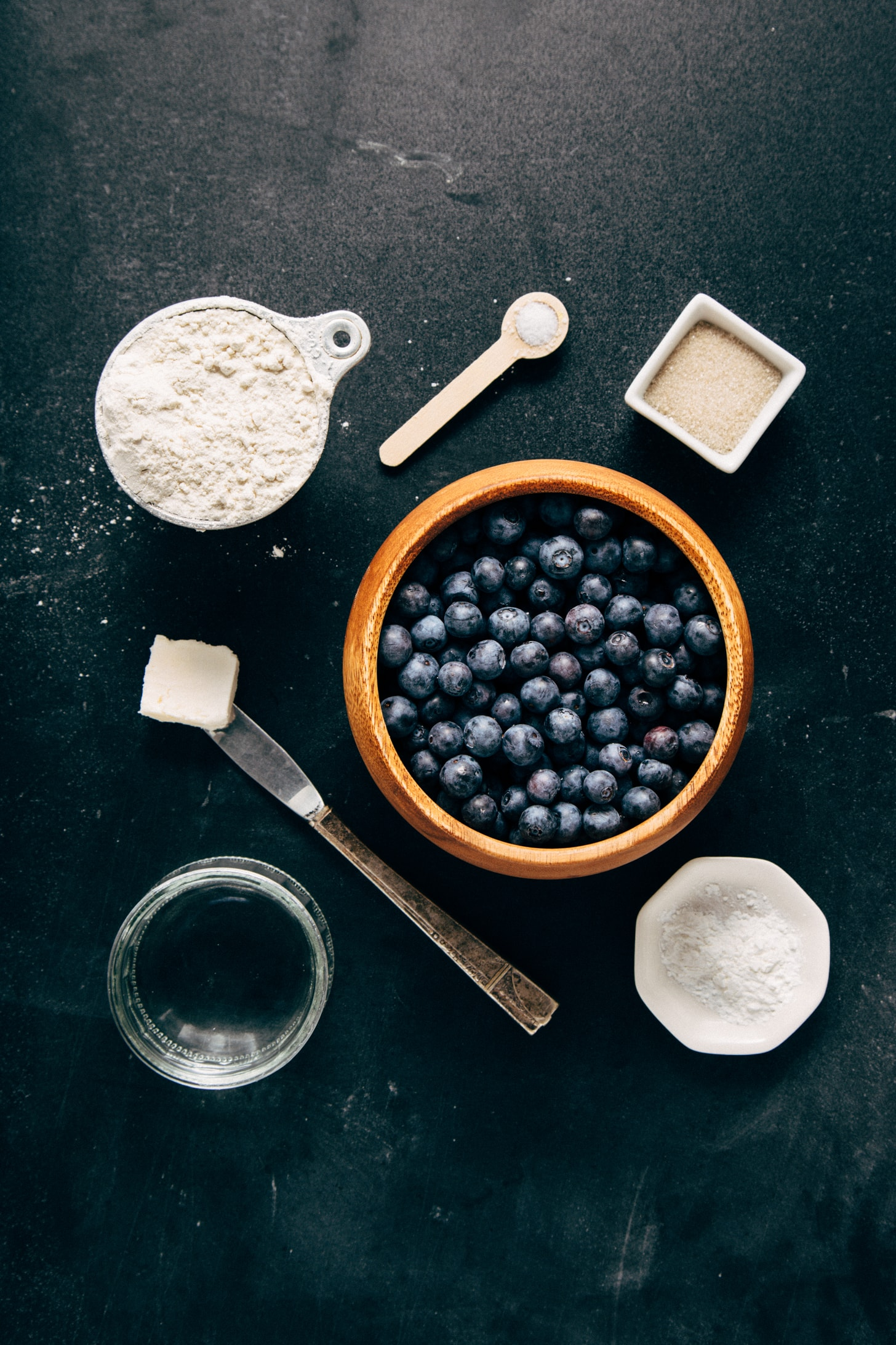 Assortment of ingredients for making simple vegan gluten-free Mini Blueberry Galettes