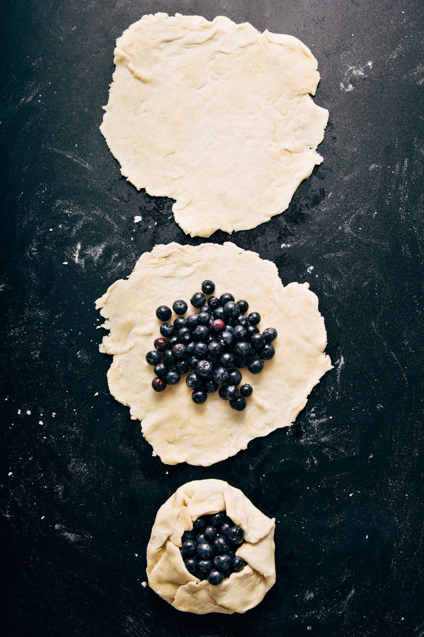 Mini Blueberry Galettes in various stages of the preparation process