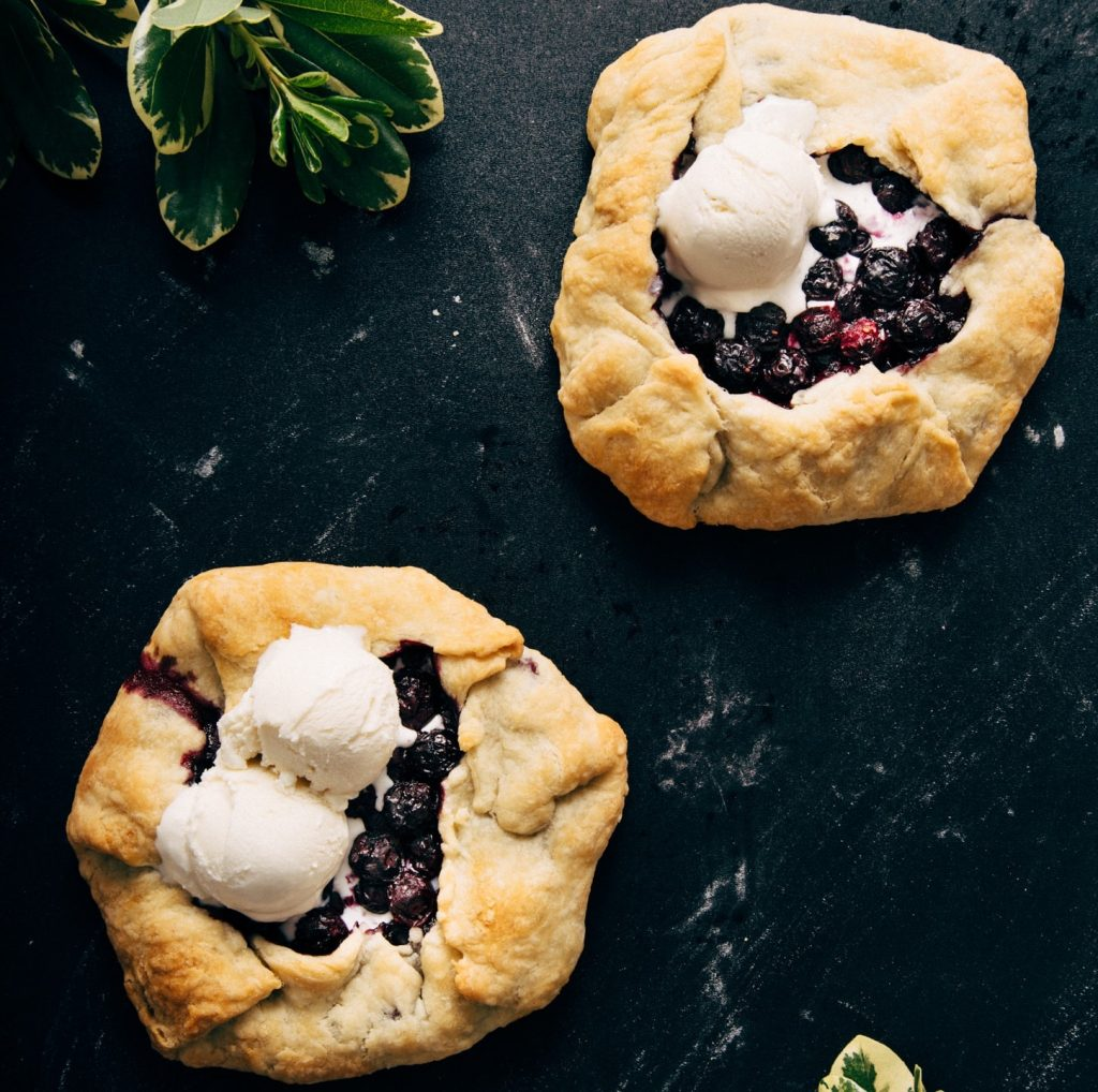 Two Mini Blueberry Galettes for a simple vegan dessert that looks fancy