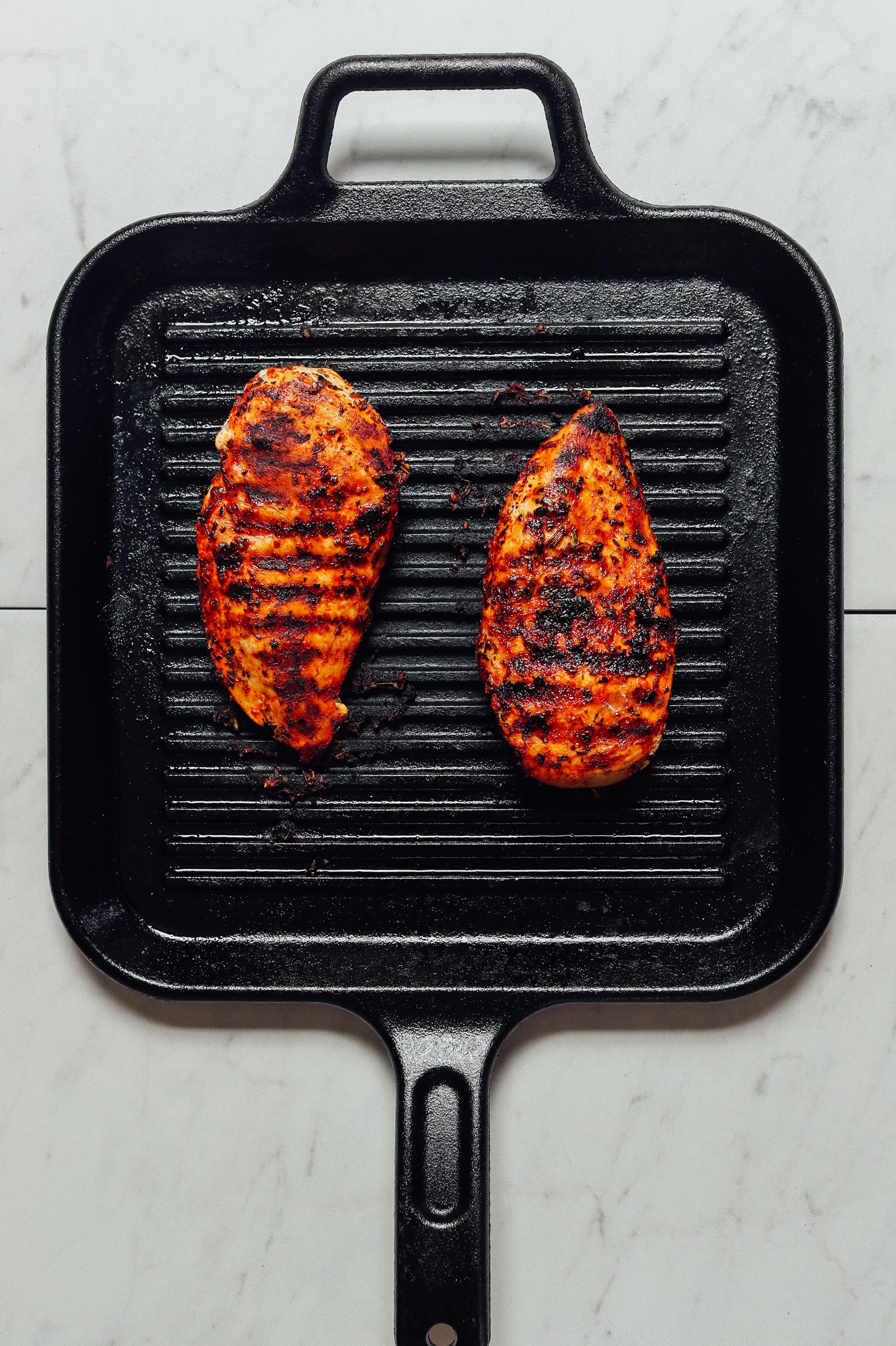 Using a grill pan to cook Marinated Grilled Chicken Breasts