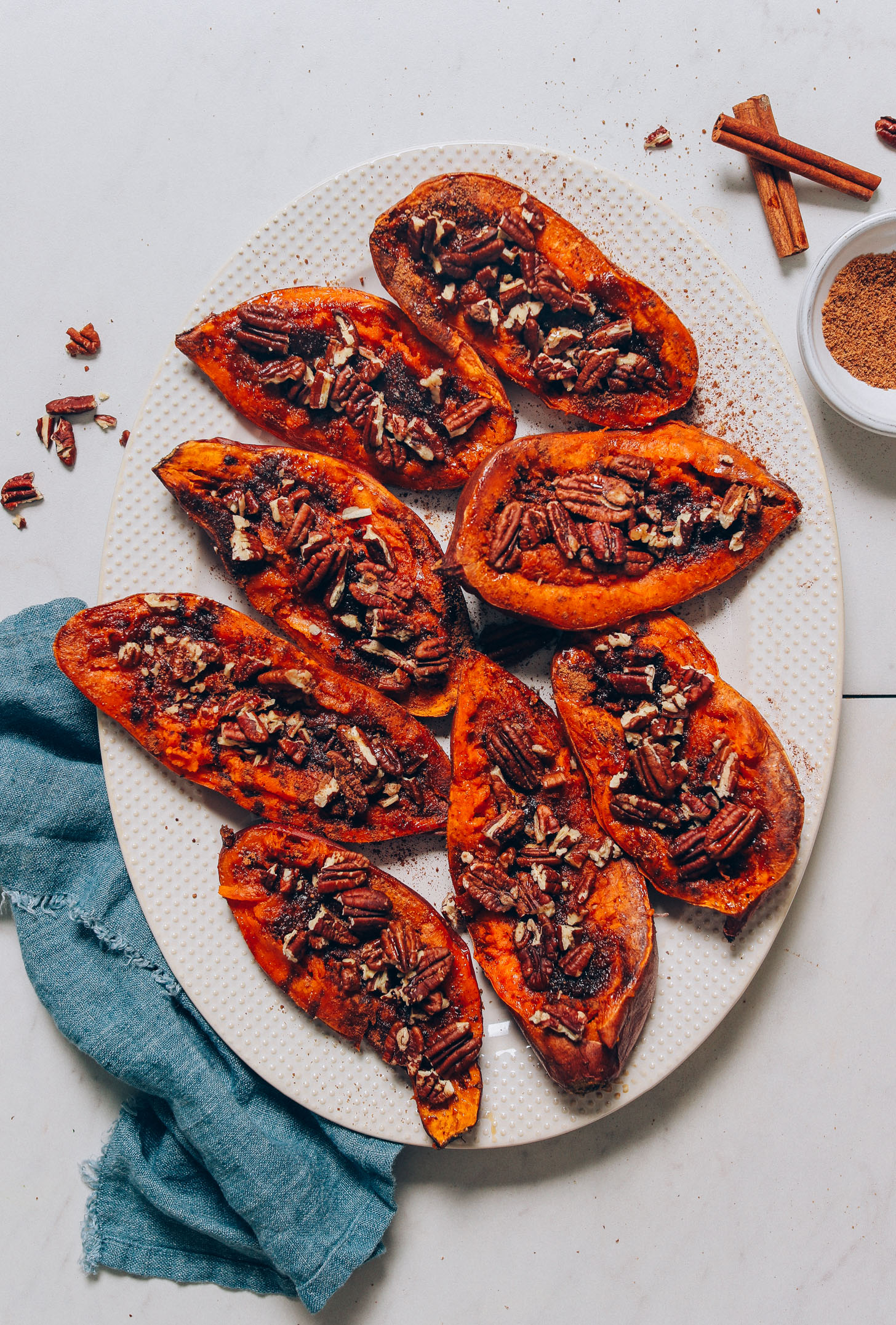 Platter of Sweet Potato Casserole Boats made with pecans