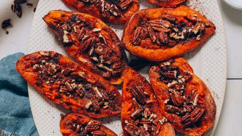 Platter of Sweet Potato Casserole Boats for a Thanksgiving side