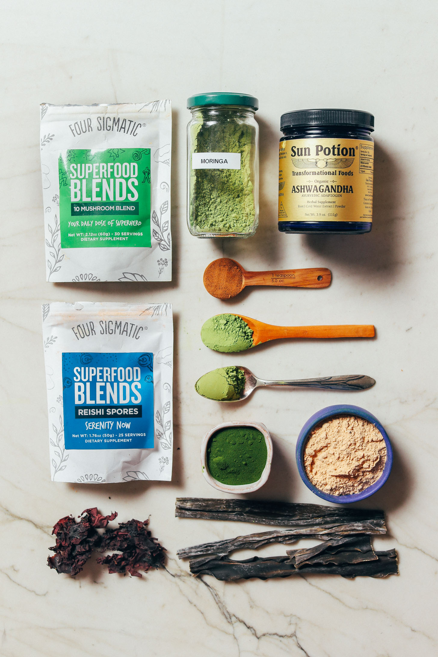 Assortment of superfoods for our guide on How to Stock Your Pantry