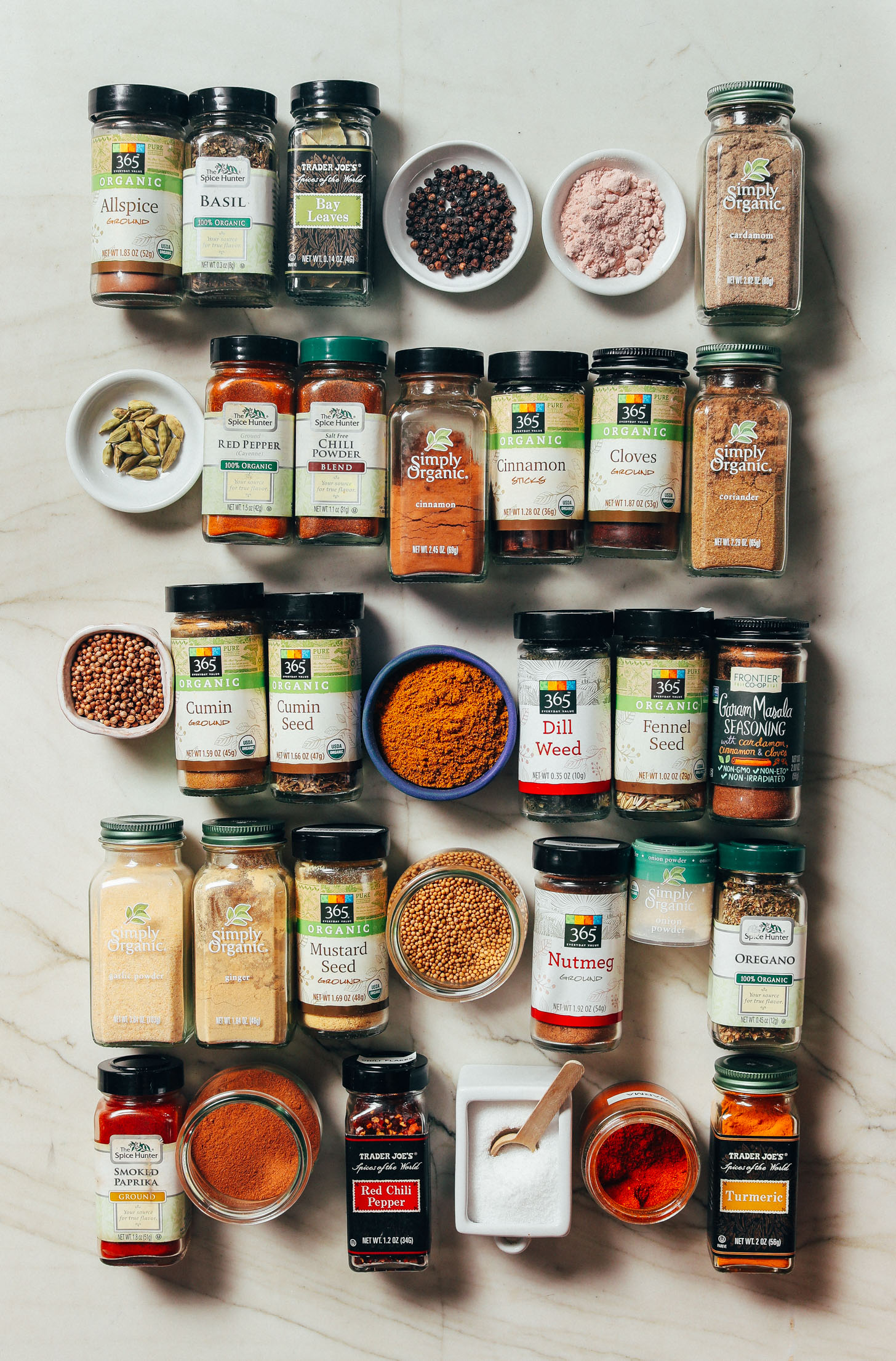 Assortment of spices for our Guide to How to Stock Your Pantry