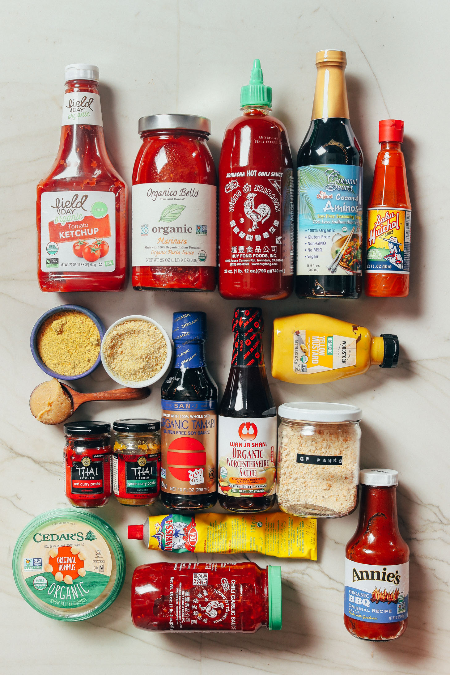 Assortment of condiments for our Guide on How to Stock Your Pantry