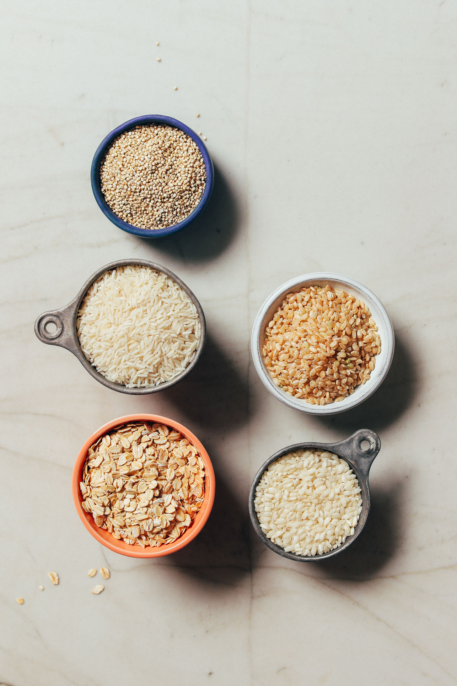 Assortment of gluten-free grains for our Guide to How to Stock Your Pantry