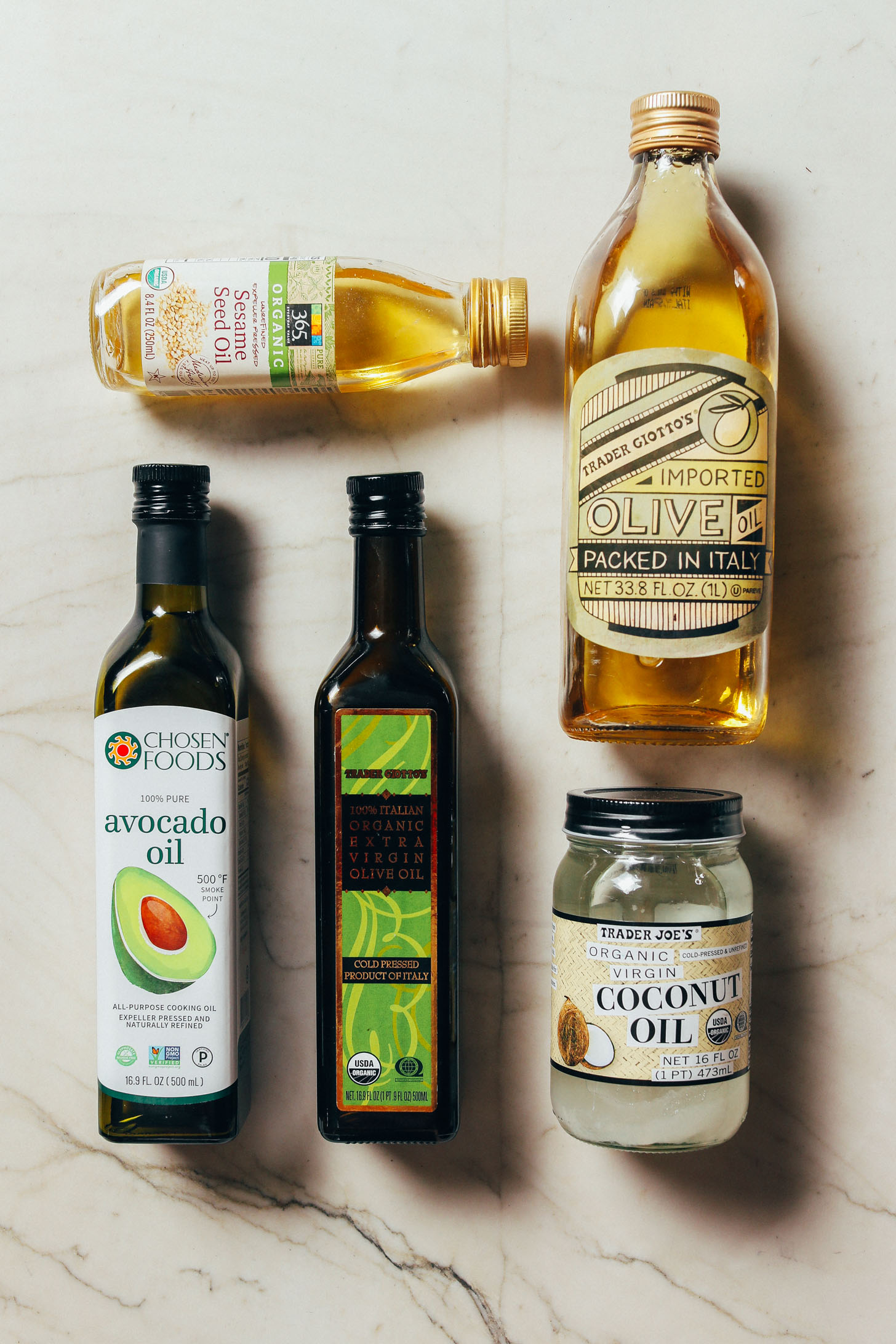 Assortment of oils for our guide on How to Stock Your Pantry