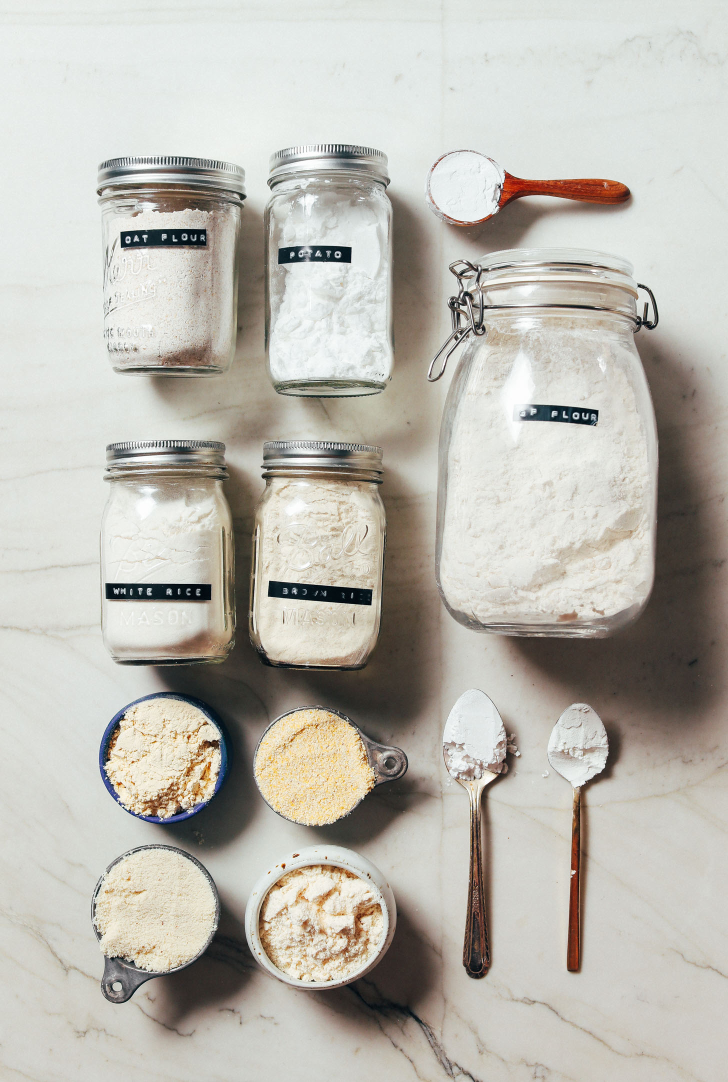 Assortment of gluten-free flours for our Guide to How to Stock Your Pantry