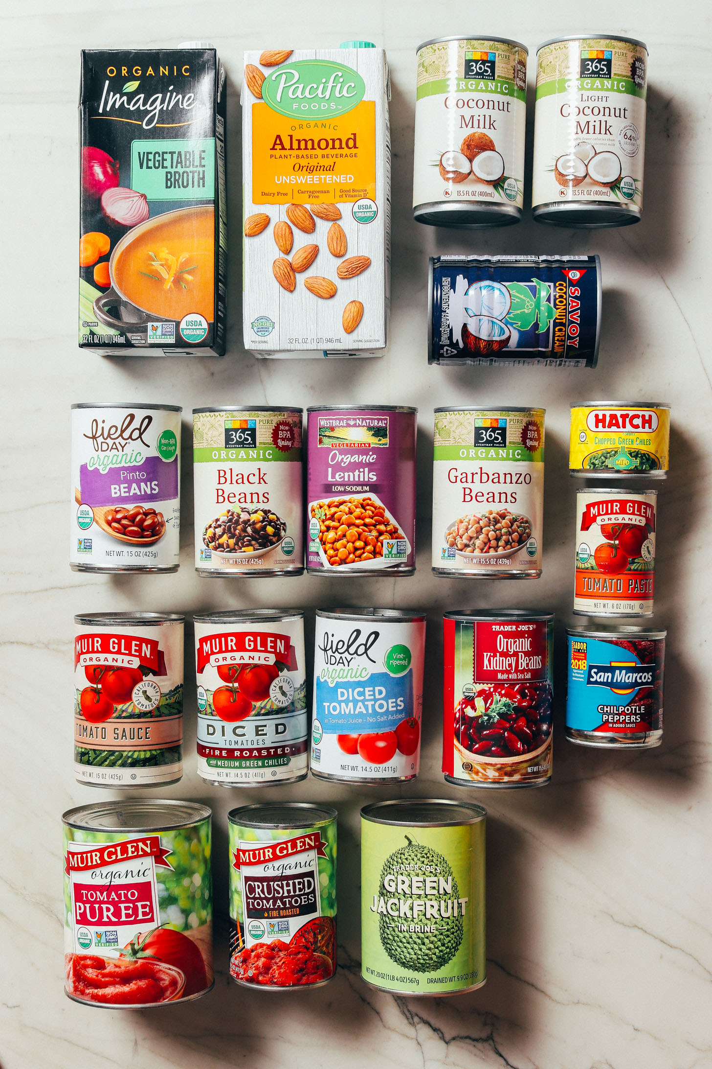 Assortment of canned good included in our How to Stock Your Pantry Guide