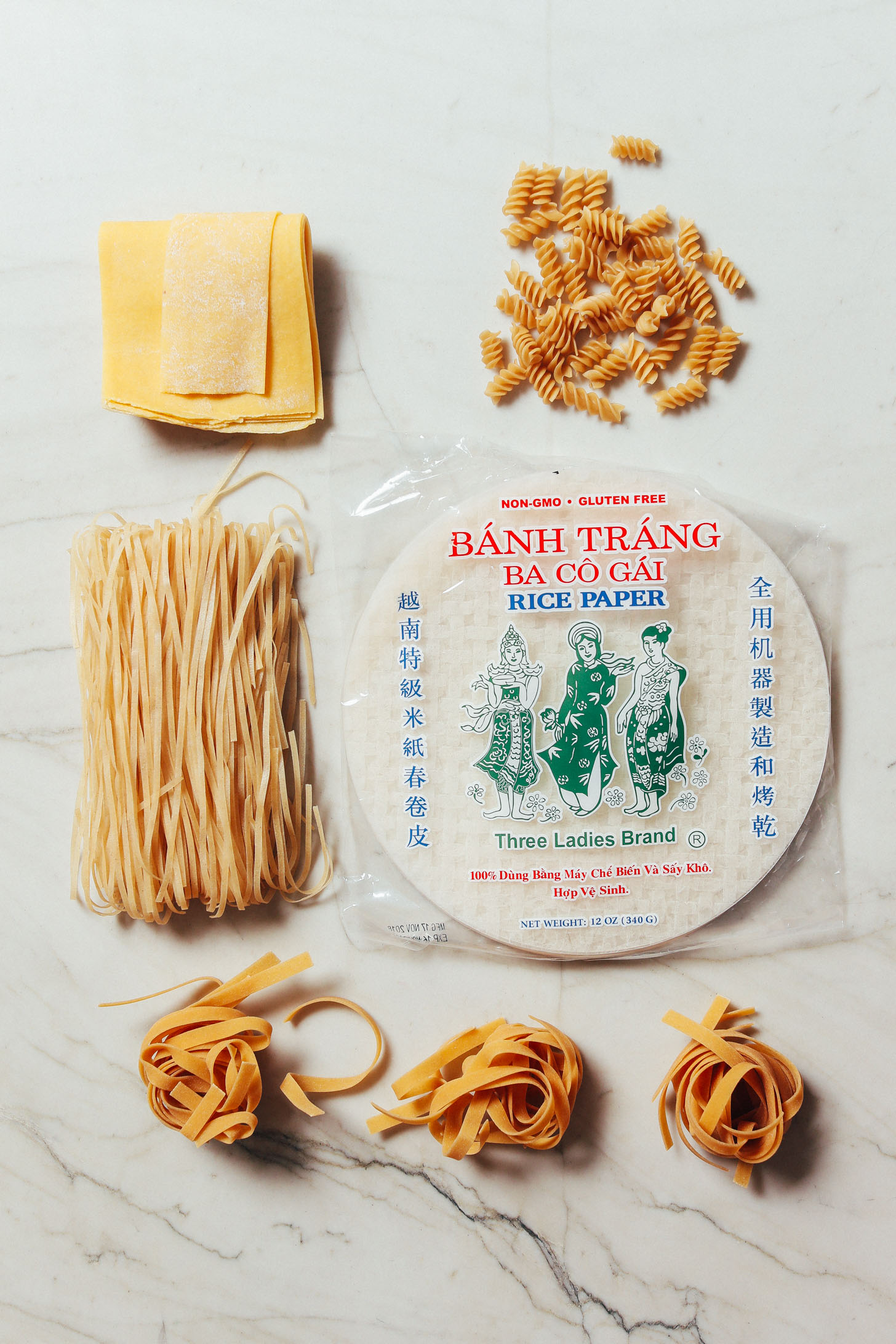 Assortment of gluten-free pastas included in our How to Stock Your Pantry Guide