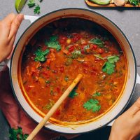 Big soup pot filled with our Pumpkin Black Bean Chili recipe