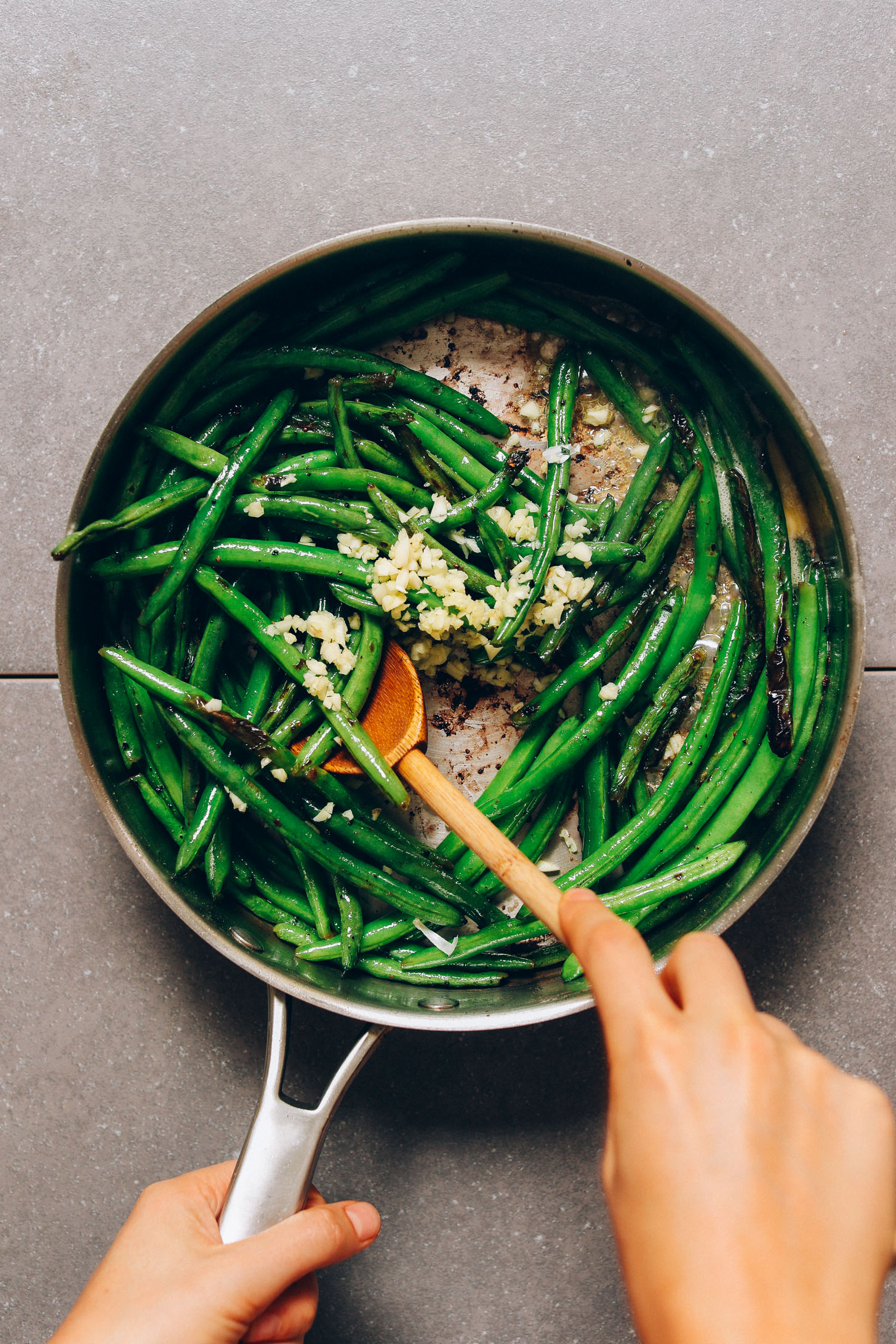 Pan of Green Beans with minced garlic