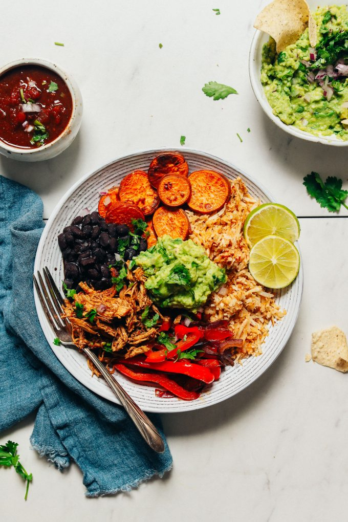 Grain-Free Burrito Bowls with Shredded Mexican Chicken