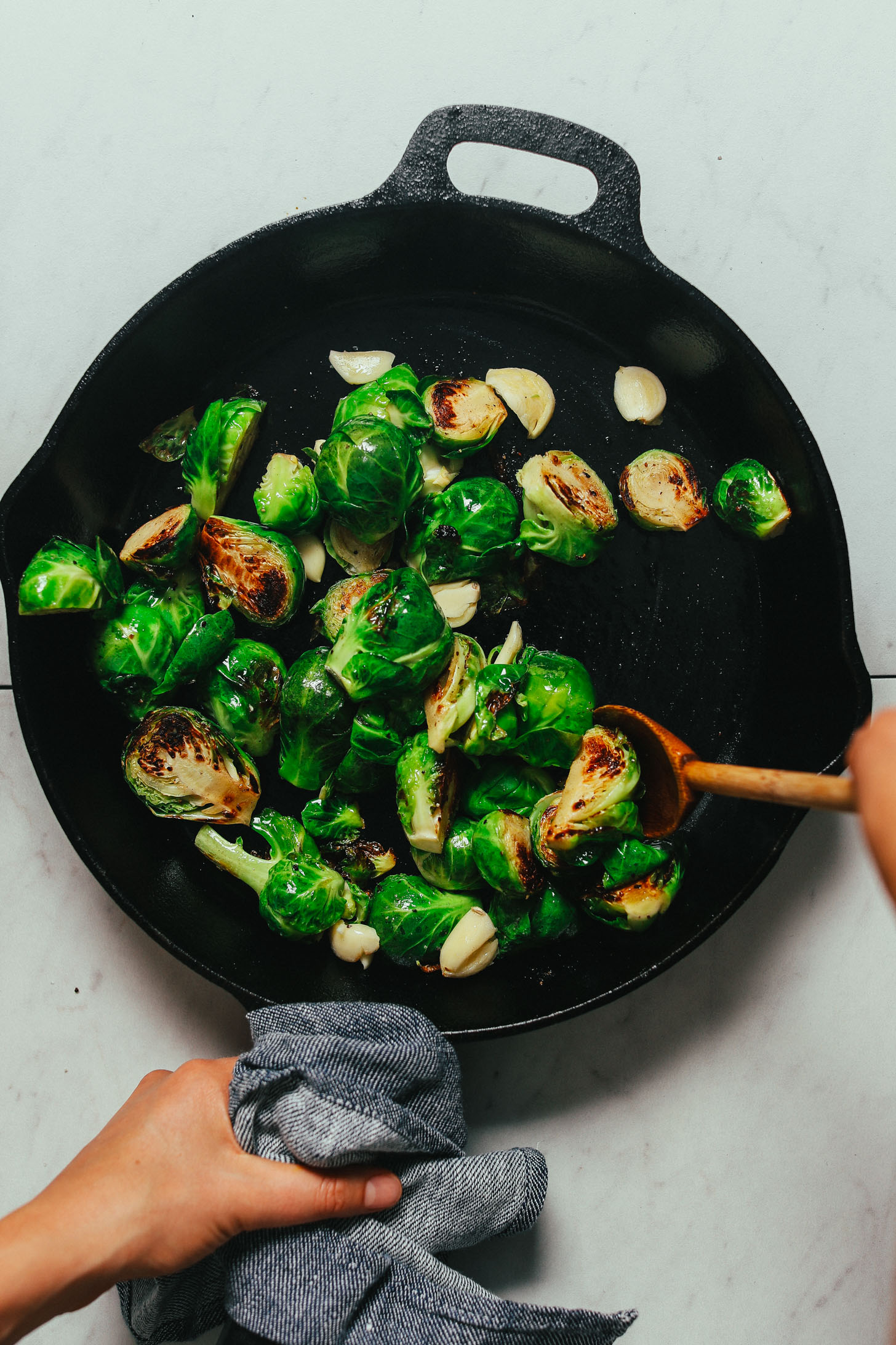 Skillet of Miso-Glazed Roasted Brussels Sprouts for a delicious Thanksgiving side