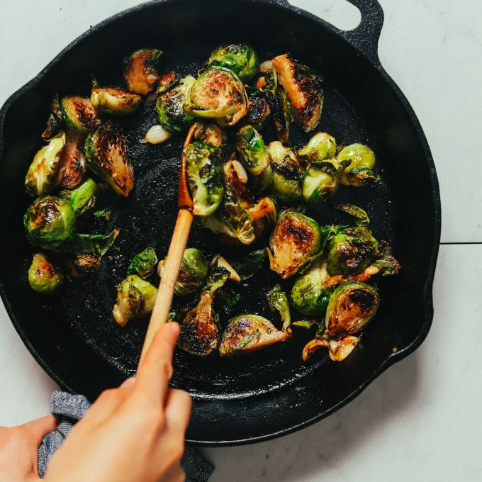 Pan of Roasted Brussels Sprouts with Miso Glaze
