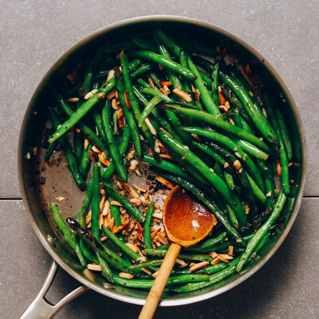 Pan of Garlicky Green Beans with Almonds