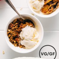 Bowls of apple crisp and ice cream for our healthier Apple Crisp recipe