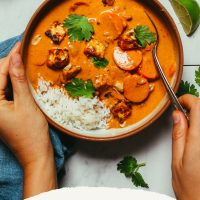 Bowl of rice and our vegan Massaman Curry