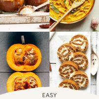 Assortment of recipe photos for our roundup of Easy Plant-Based Pumpkin Recipes