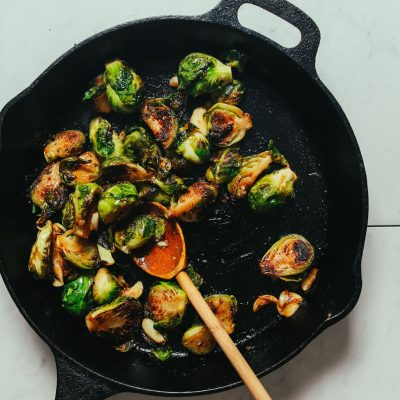 Skillet of Crispy Roasted Brussels Sprouts with Miso Glaze