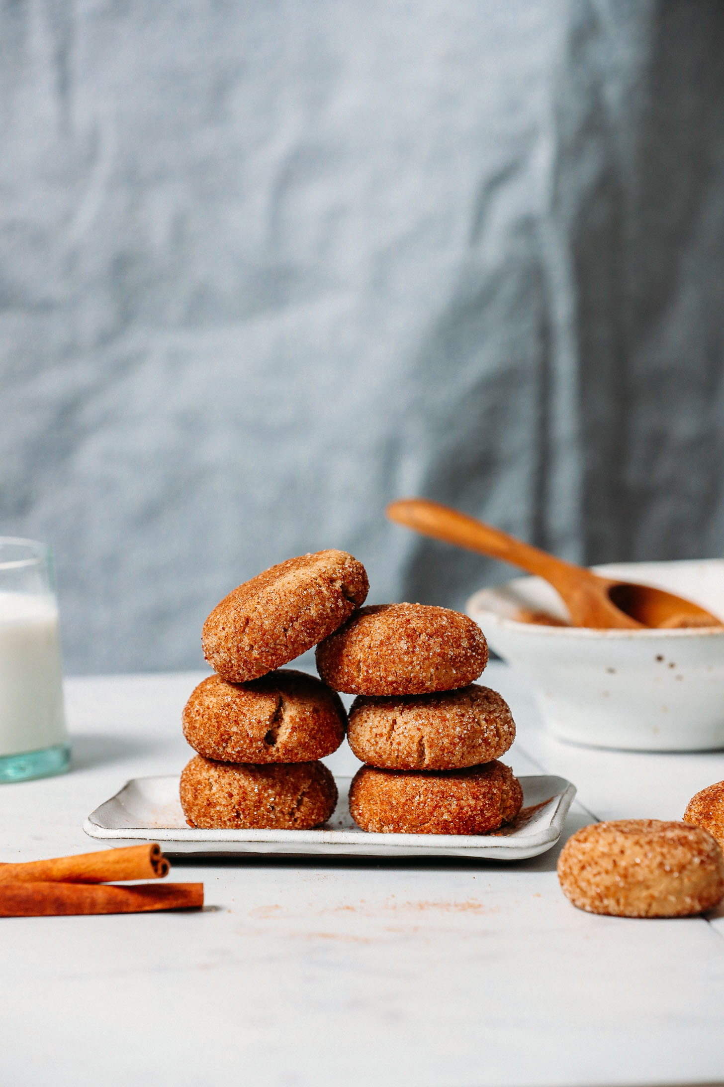 Small plate piled with Gluten-Free Vegan Snickerdoodle Cookies