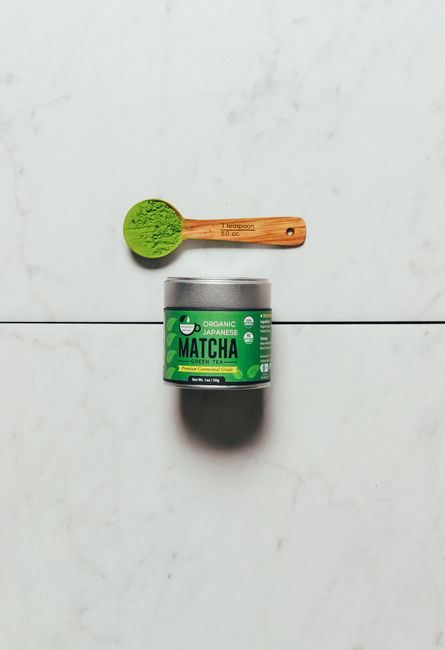 Spoonful and jar of our favorite ceremonial matcha brand