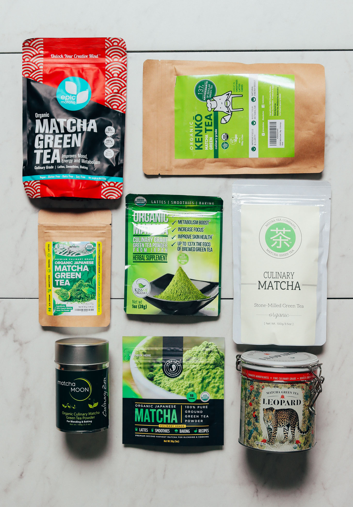 Packages of culinary matcha for our review of the best brands of matcha