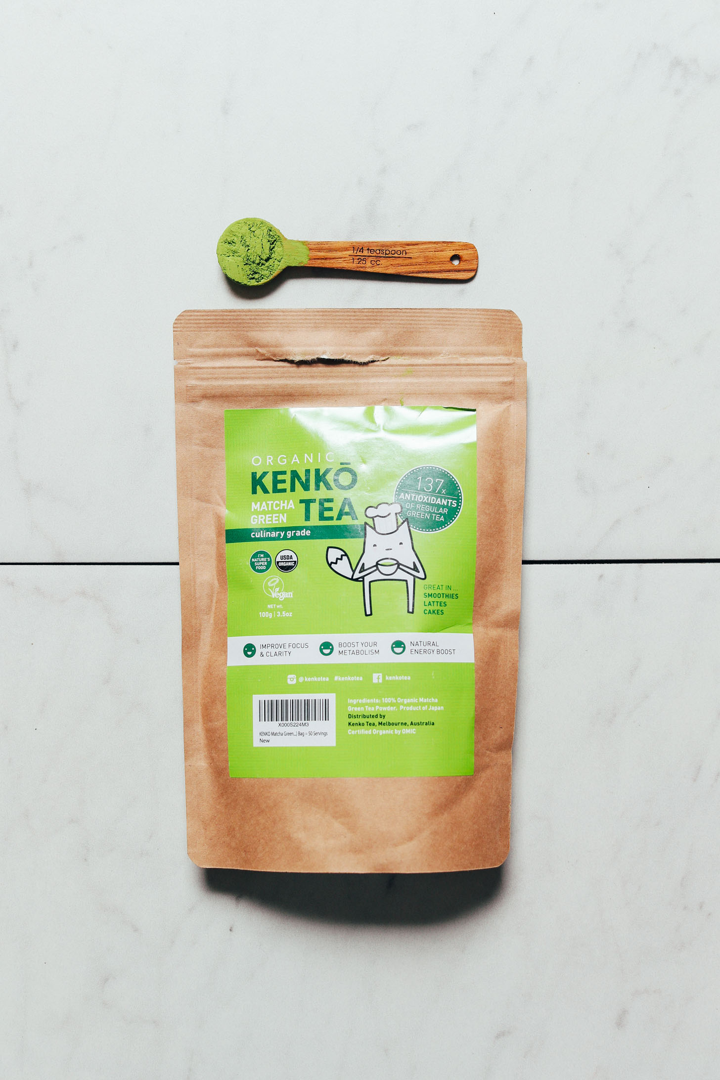 Spoonful and package of Kenko Culinary Matcha for our unbiased review of matcha brands