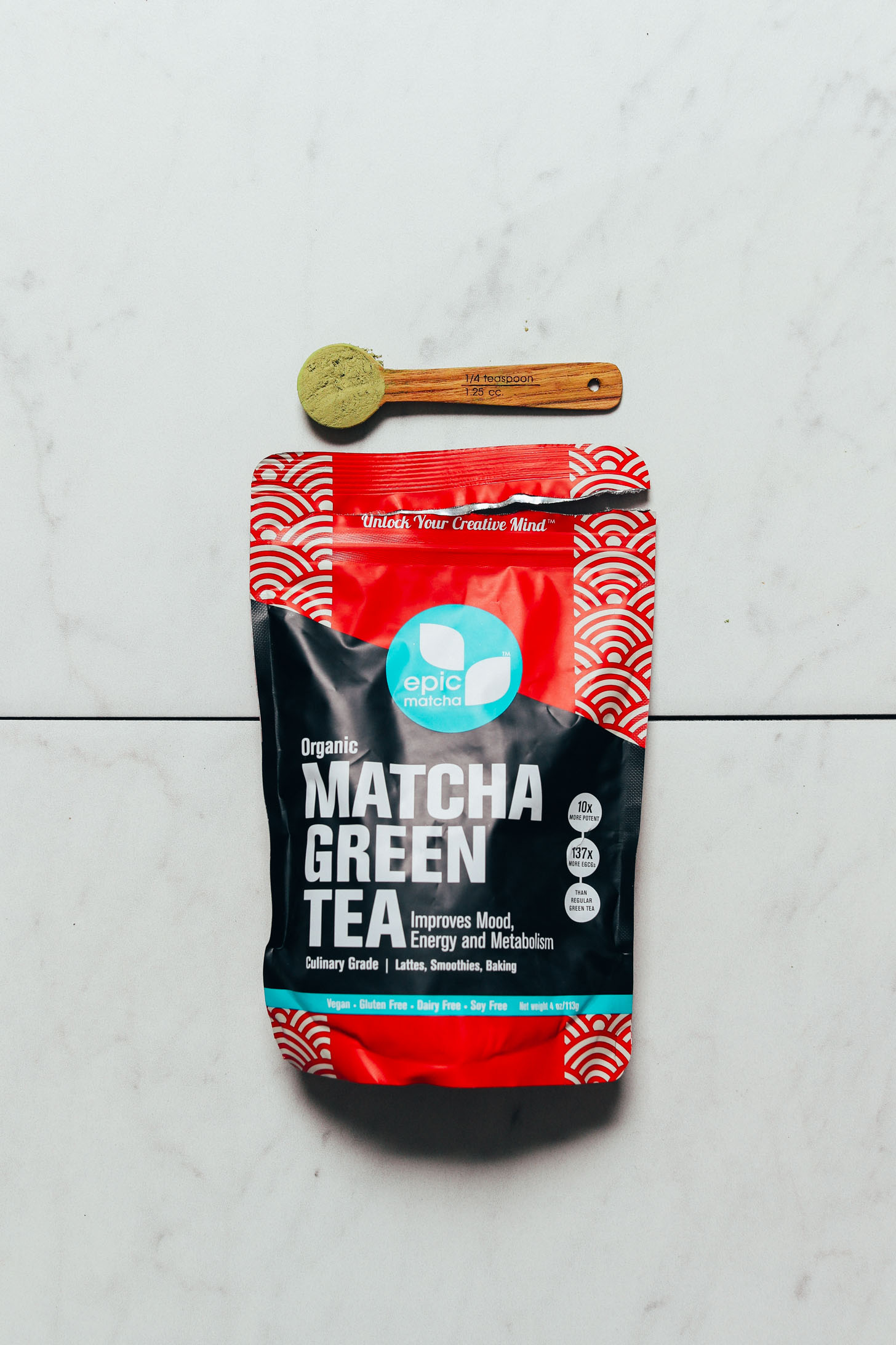 Package of Epic Matcha for our roundup of the best brands of matcha