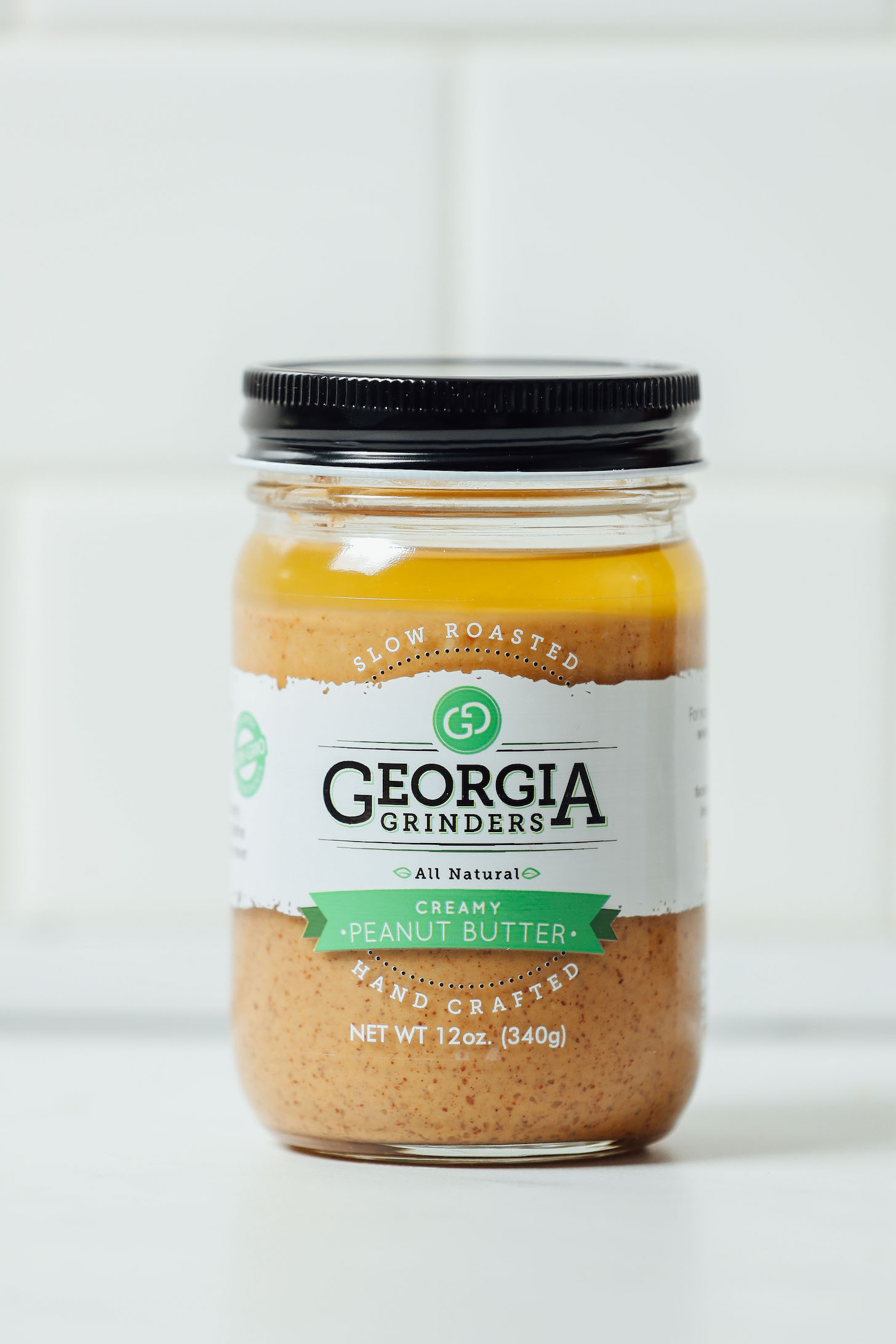 Jar of Georgia Grinders peanut butter for our unbiased review of the leading peanut butter brands