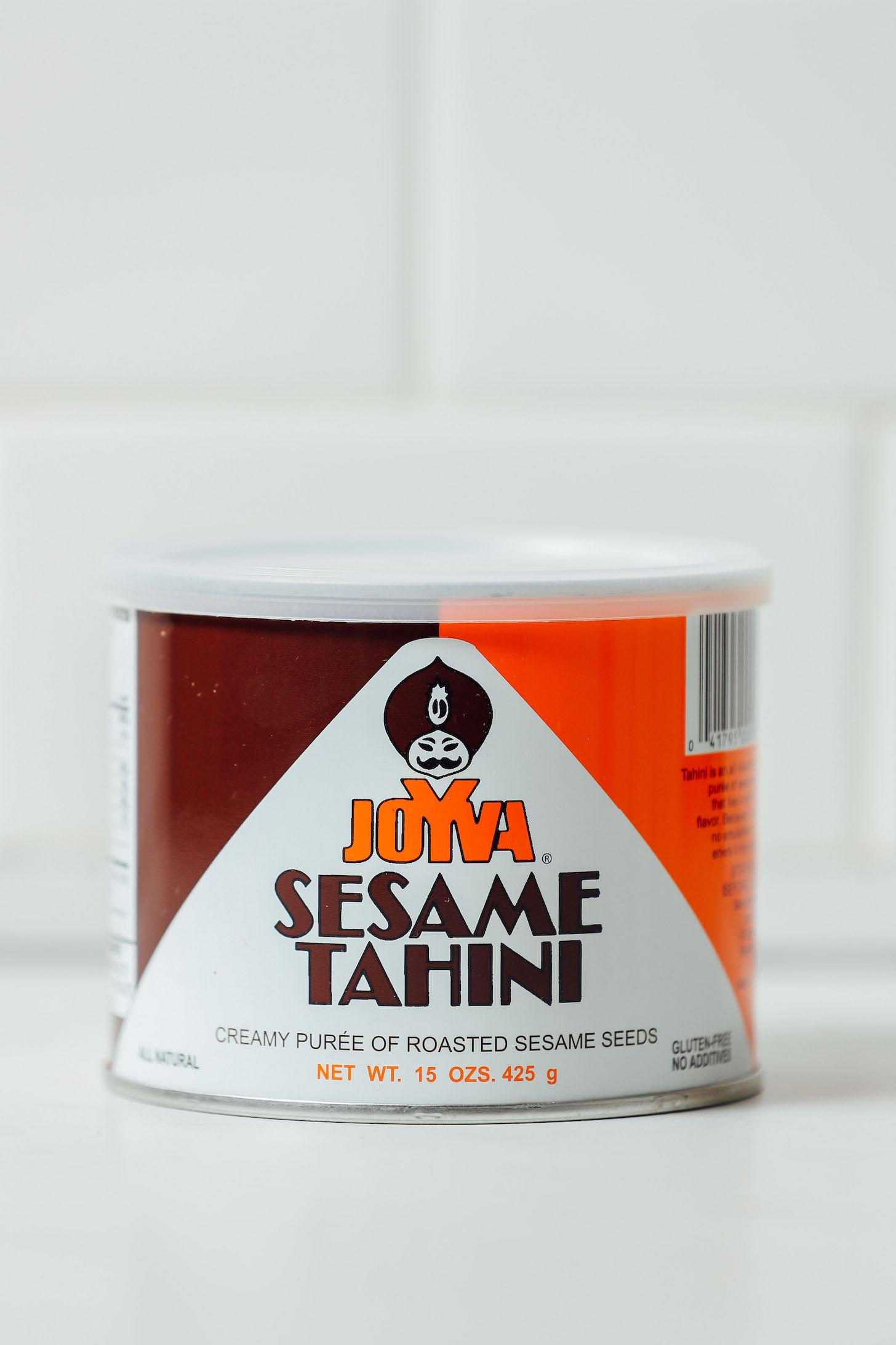 Tub of Joyva Sesame Tahini for our review of Tahini Brands