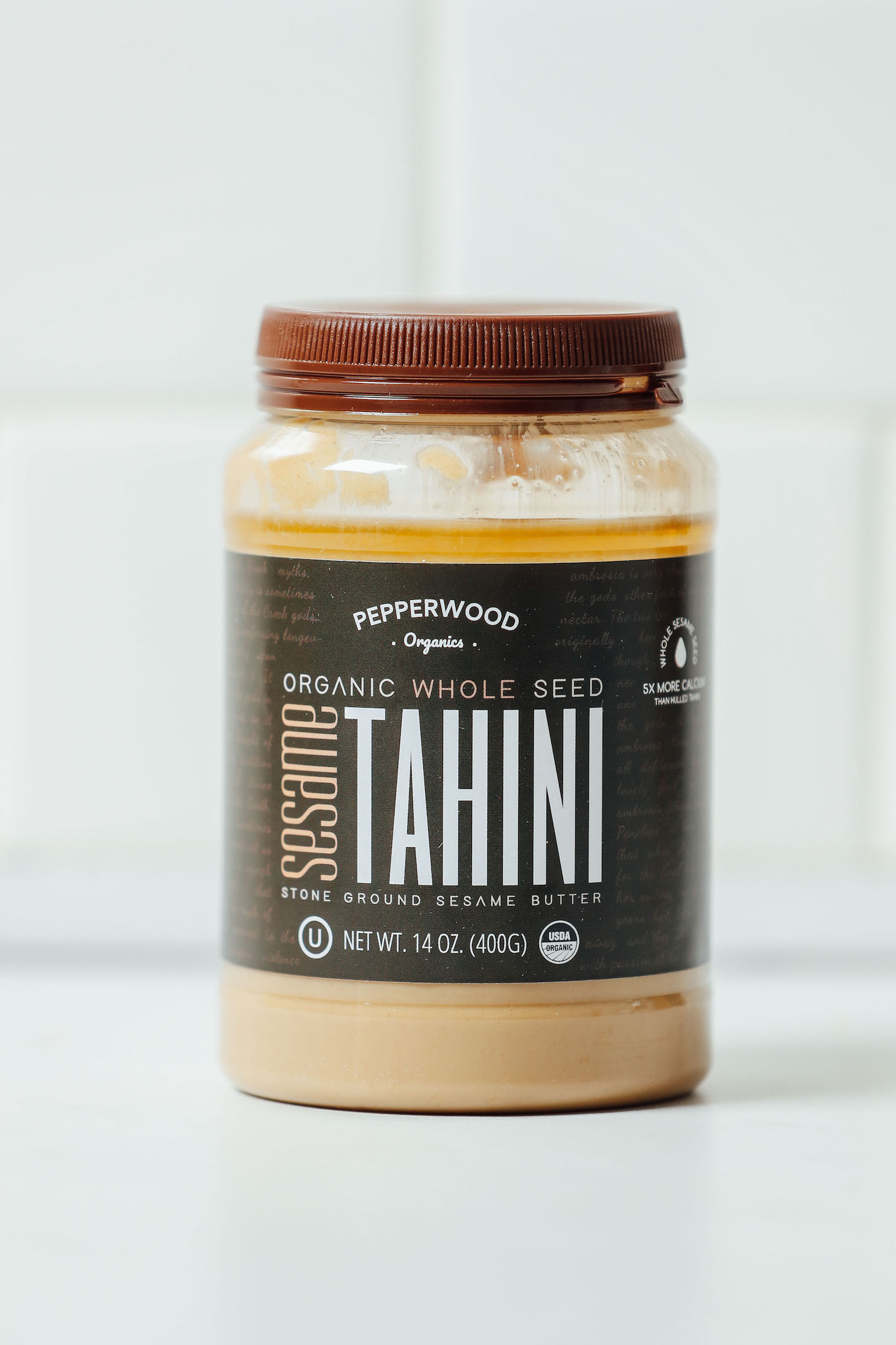 Jar of Pepperwood Unhulled Tahini for our review of the Best Tahini Brands
