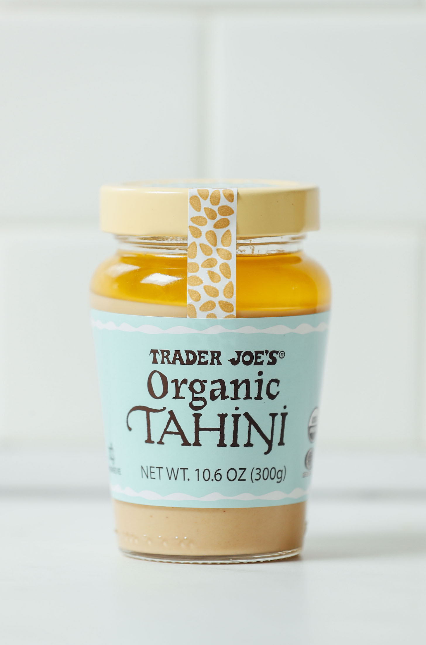 Jar of Trader Joe's brand tahini for our review of the Best Store-Bought Tahini Brands