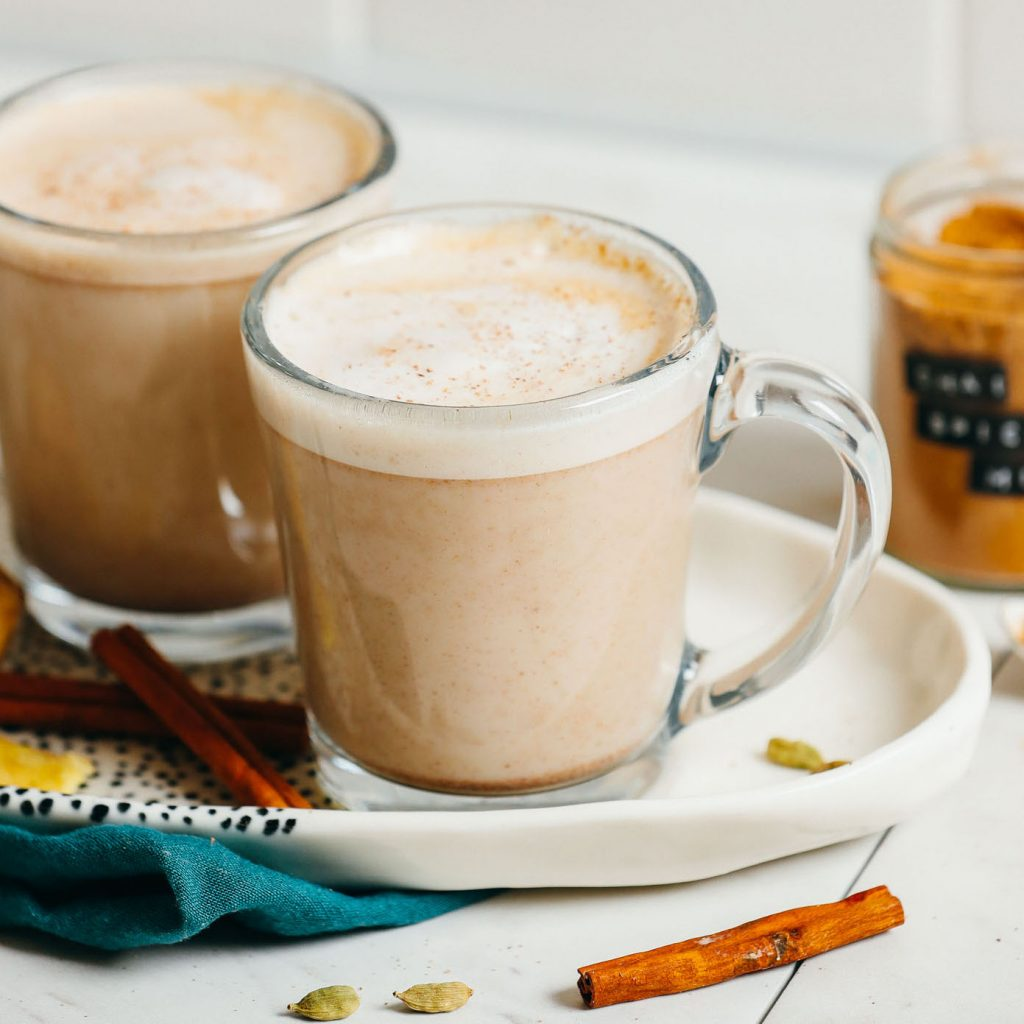 Mugs of our Chai Latte recipe made with a spice mix