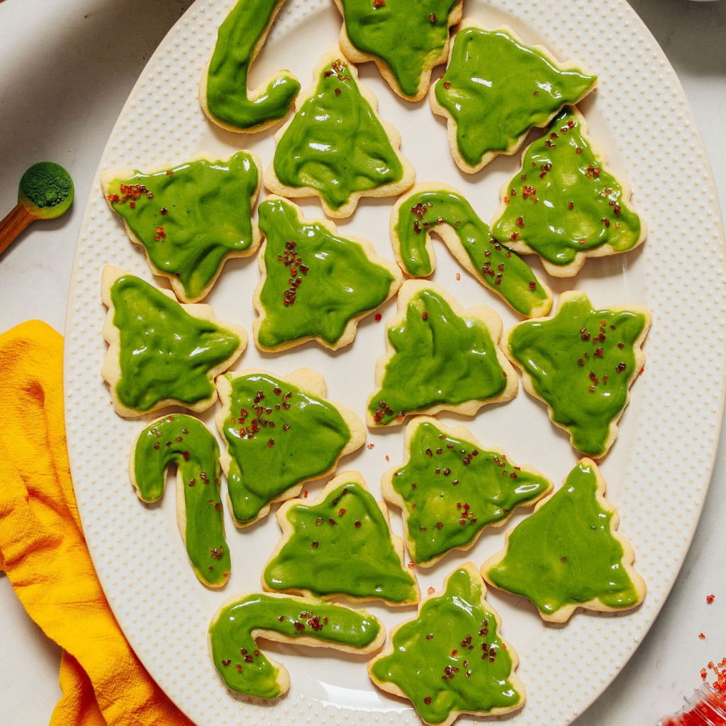 Platter of Grain-Free Sugar Cookies decorated with green frosting