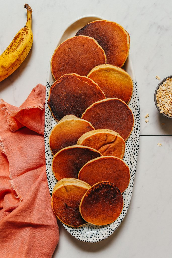 Platter filled with Banana Pancakes made with oats